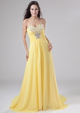 Yellow Chiffon Beading Sweep Prom Dress Empire Yellow