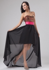 Paillette Black High-low Chiffon Sequined Prom Dress