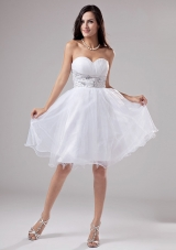 Beaded Knee-length White Prom Dress Organza A-Line
