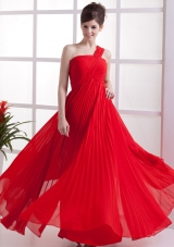 One Shoulder Red Pleated Empire Chiffon Prom Dress