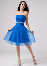 TulleBlue Beading Prom Dress A-Line Knee-length