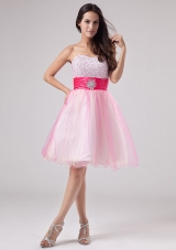 Beading Pink Mini-length Sash Prom Dress Beaded