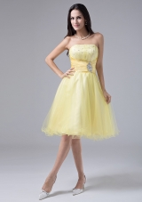 Light Yellow Short Prom Dress Beaded Ruch Organza