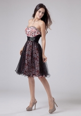 Prints and Tulle Prom Dress Beadings Short A-line
