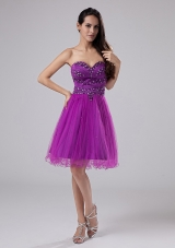Fuchsia Organza Beaded Short Prom Dress Sweetheart