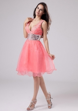 Straps Watermelon Knee-length Prom Dress Sequined