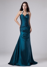 Turquoise Halter Taffeta prom Dress with Applique