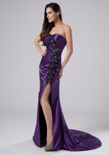 High Slit Purple Prom Dress with Beads Applique
