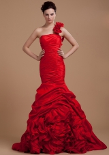 Handle Flower One Shoulder Mremaid Prom Gown Red