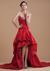 Pick-ups High-low Wine Red Court Prom Gown Leopard