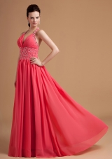 Halter Watermelon Dress for Prom Beaded Chiffon