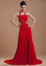 Beading High Slit 2013 Prom Dress Halter Red Brush