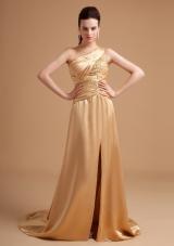 Champagne Prom Dress Beading One Shoulder High Slit