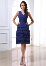 V-neck Royal Blue Prom Dress Hand Made Ruffled Layers