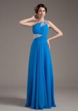One Shoulder Key-hole Blue 2013 Prom Dress Beading
