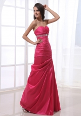 Elegant Ruched Beading Hot Pink Prom Dress