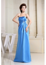Sky Blue Dress for Formal Evening Pleats Crystal