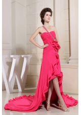 Coral Red High-lo One Shoulder Prom Dress Hand Made