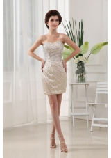 Beaded Over Champagne Prom Nightclub Dress Mini-length