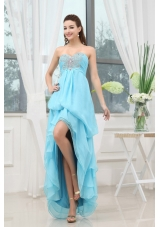 Discount Aqua Blue Prom Dress Appliques High-low