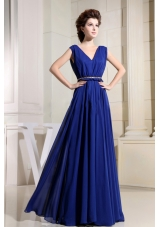 Royal Blue Prom Dress For Homecoming V-neck Chiffon