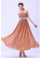 2013 Rust Red Bridesmaid Dresses Blue Belt Ruching