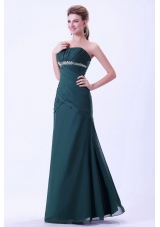 Green Prom Dress for Evening Appliques Ruching