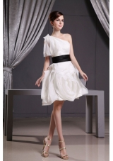 Short Wedding Dress Belt One Shoulder Short Sleeve