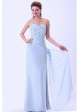 Elegant Light Blue Ruched Prom Dress For Cheap