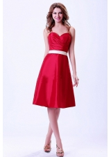 Wine Red Sweetheart Bridemaid Dress White Belt