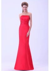 Mermaid Coral Red Prom Dress Brush Customize