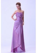 Hot Fashion Lavender Prom Dress Ruching Crystal