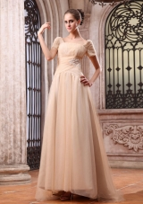 Wedding Dress Square Short Sleeves Champagne