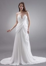 Hand Made Court Chiffon Wedding Dress Empire