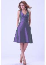 Purple Halter Ruched Bridesmaid Dresses Knee-length