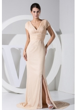 Slit Short Sleeves Champagne V-neck Prom Dress Brush