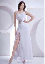 Beading Single Strap High Slit Ankle-length Prom Dress