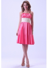 Hot Pink Bridesmaid Dresses Ruching Knee-length