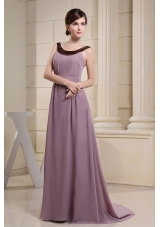 Scoop Mother Bride Dress Light Purple and Brush