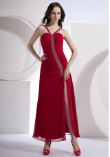 V Shaped Straps Ankle-length Prom Prom Dress Wine Red