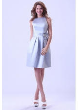 Bateau Silver Bridesmaid Dresses Hand Flower Knee-length