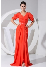 Beading V-neck Red Brush Short Sleeves Prom Dress
