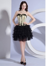 Appliques Light Yellow and Black Layers Prom Dress