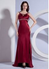 Open Back Beading Straps Burgundy Brush Prom Dress