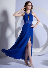 Keyhole Slit Beading Ankle-length Prom Dress Royal