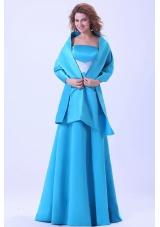 Matching Shawl Blue Bridesmaid Dresses Brush A-line