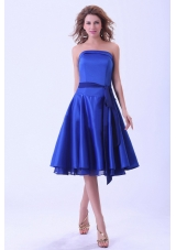 Royal Blue Bridesmaid Dresses With Sash Tea-length