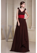 V-neck Red Waistband Flowers Brown Prom Dress