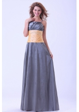Yellow Waistband Dark Grey Bridesmaid Dresses Spaghetti Straps