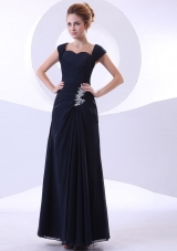 Appliques Ankle-length Straps Navy Blue Mother Bride Dress